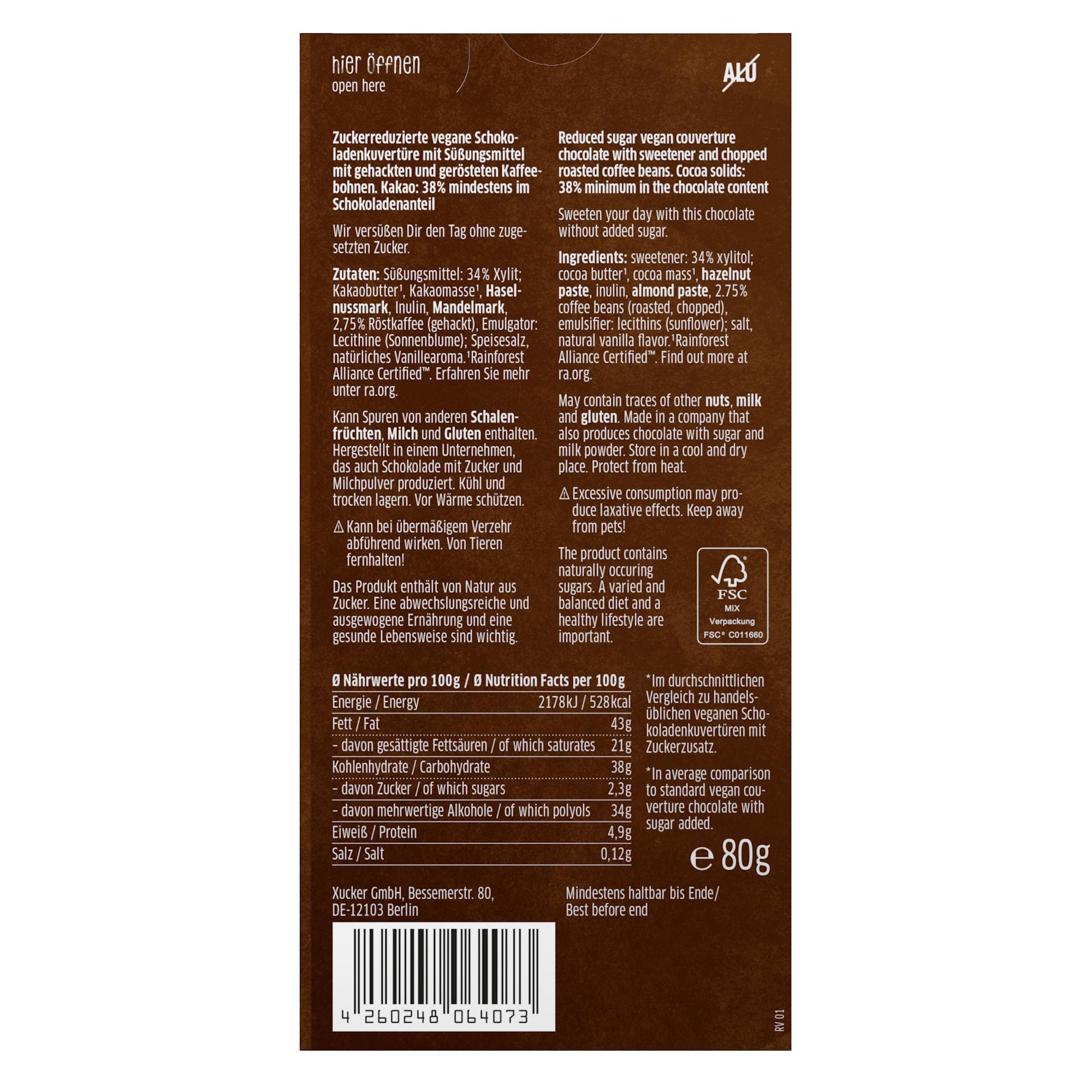 XUCKER Schokoladenkuvertüre mit Kaffeesplitter