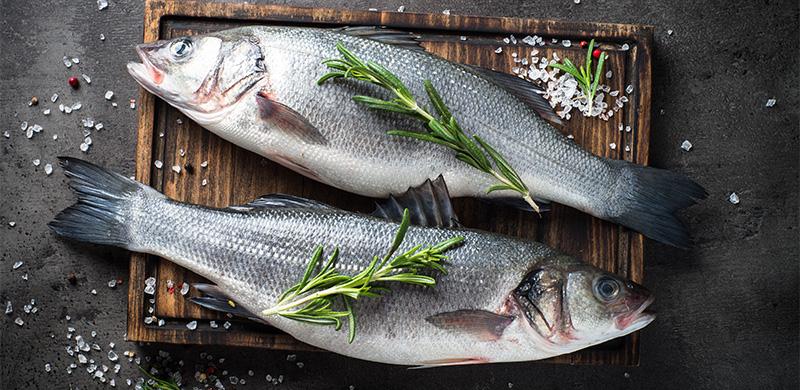zwei Fische auf Holzbrett gesalzen und mit Rosmarinzweigen