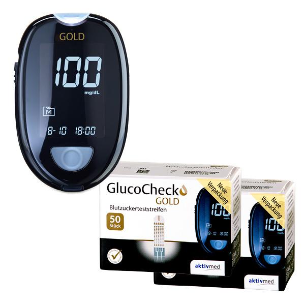 GlucoCheck GOLD Starter-Set mit 110 Teststreifen
