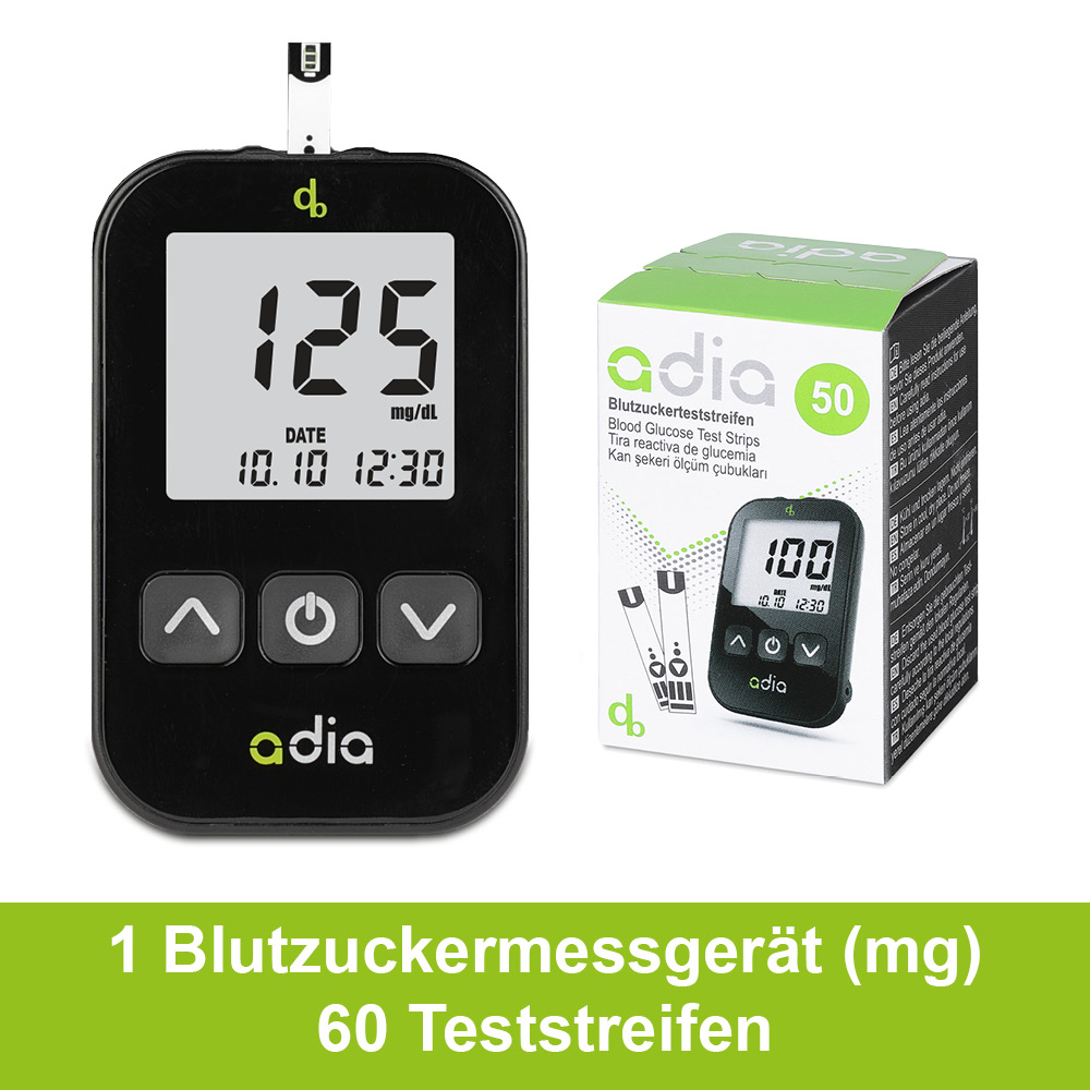 adia Blutzuckermessgerät - Starter Set inkl. 60 Teststreifen mg/dl