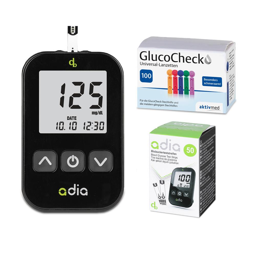 adia Blutzuckermessgerät Set Starterkit mg/dl + 50 Blutzuckerteststreifen + 100 Lanzetten