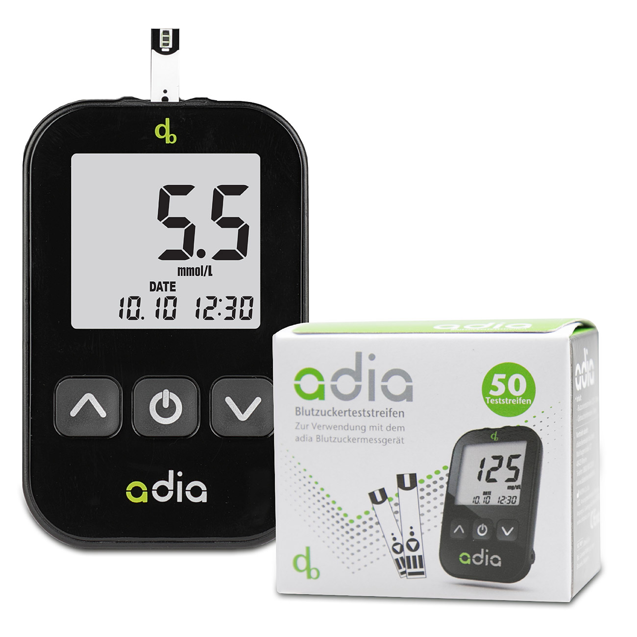adia Blutzuckermessgerät - Starter Set inkl. 60 Teststreifen mmol/l
