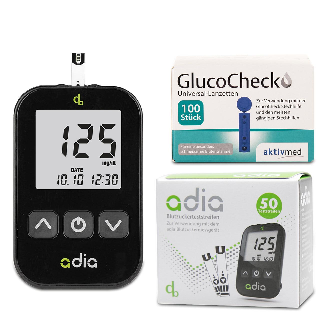 adia Blutzuckermessgerät + 60 Blutzuckerteststreifen + 110 Lanzetten