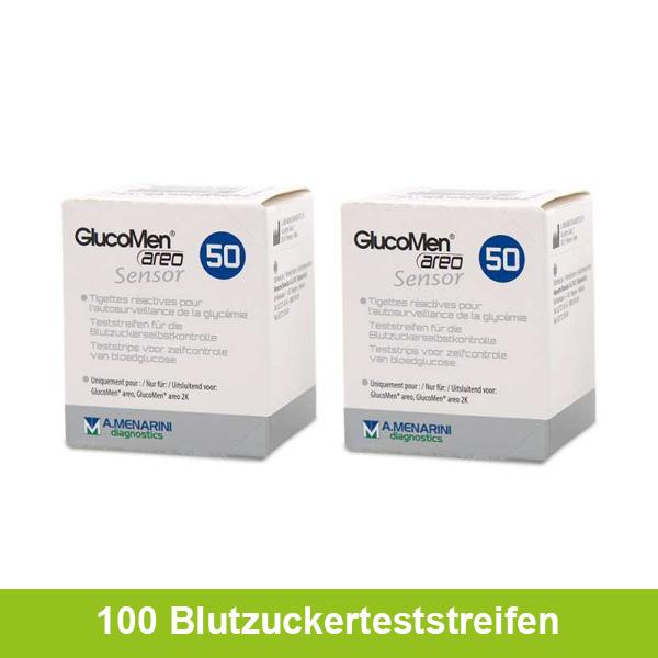 GlucoMen areo Sensor Blutzuckerteststreifen, 100 Stück