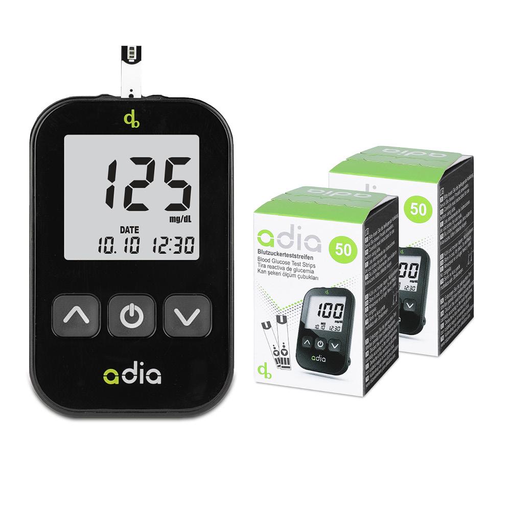adia Starter-Set mit 110 Blutzuckerteststreifen mg/dl