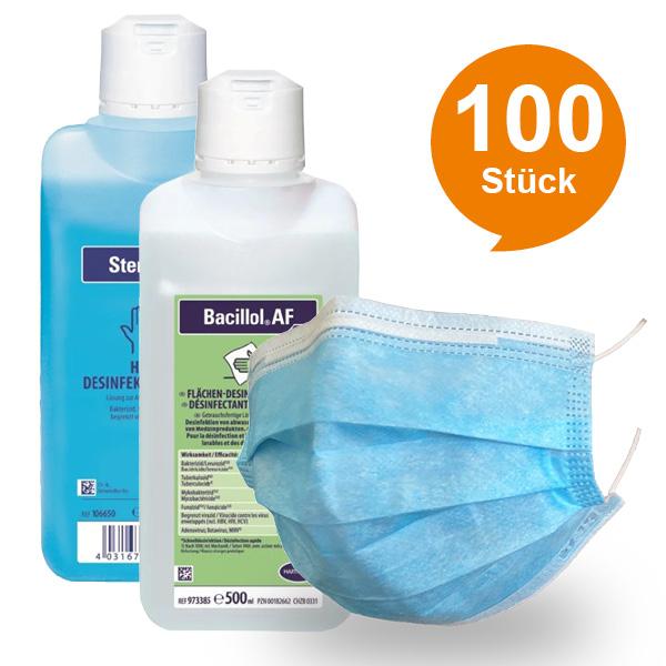 Set aus Sterillium + Bacillol + 100 Med. Schutzmasken