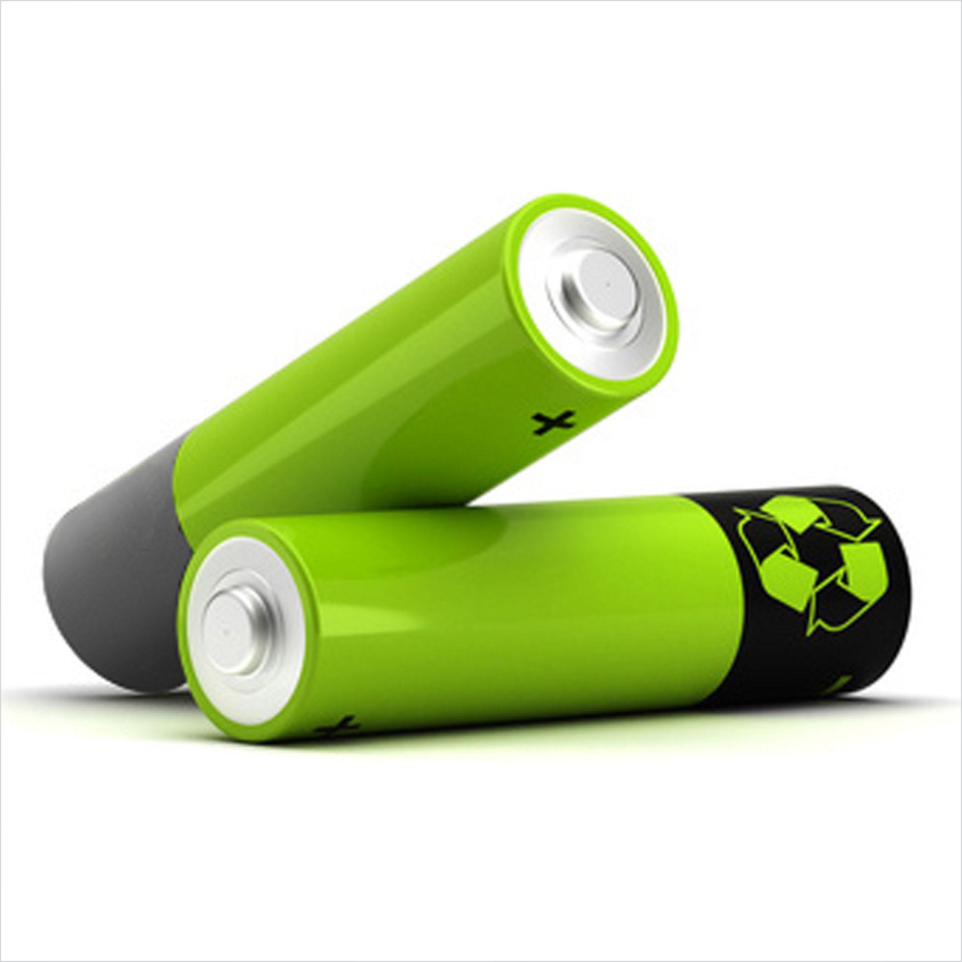 zwei grüne Batterien