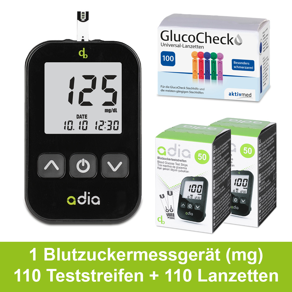 adia Blutzuckermessgerät Set Starterkit mg/dl  + 110 Blutzuckerteststreifen + 110 Lanzetten