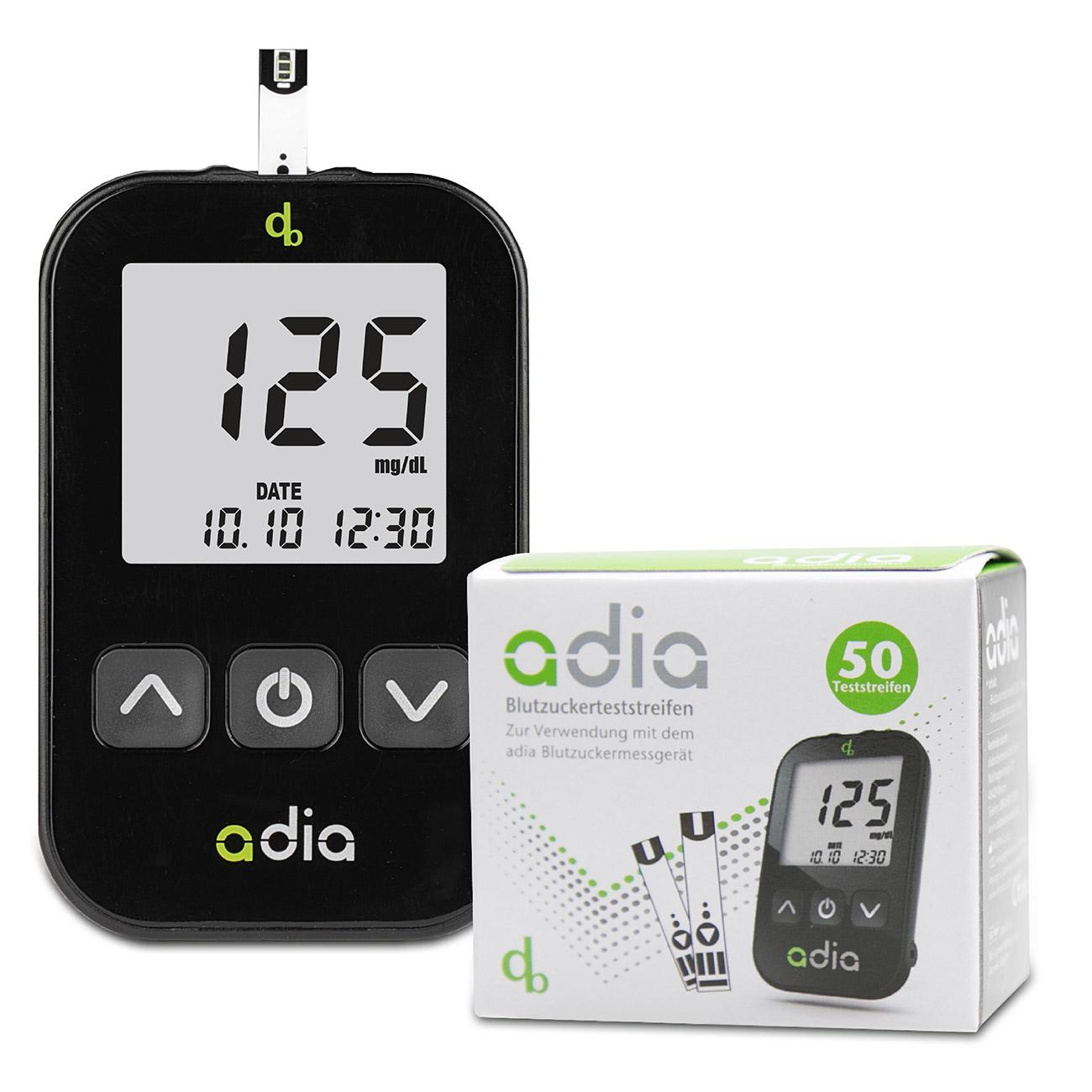 adia Blutzuckermessgerät - Starter Set inkl. 60 Teststreifen