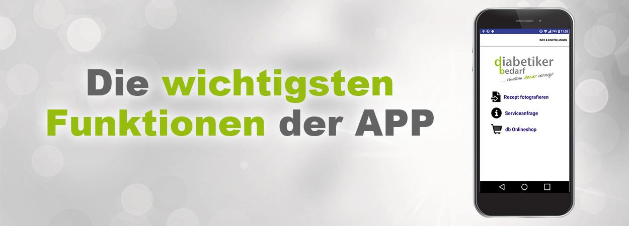 Banner mit Text wichtigste Funktionen db Rezept App
