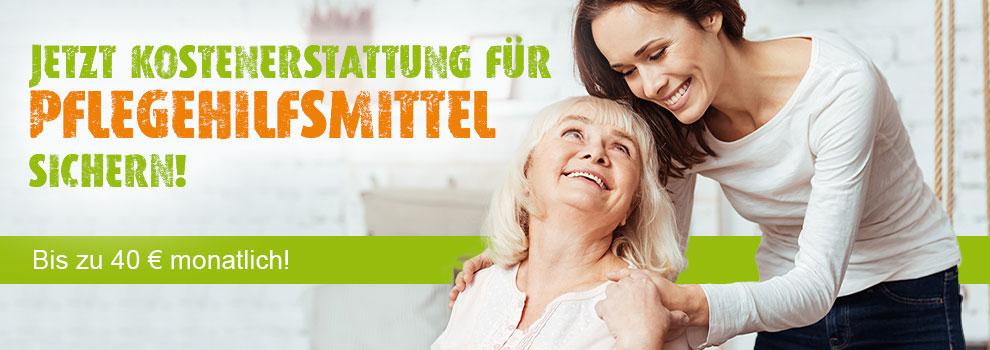 Banner mit Text Kostenerstattung für Pflegehilfsmittel sichern