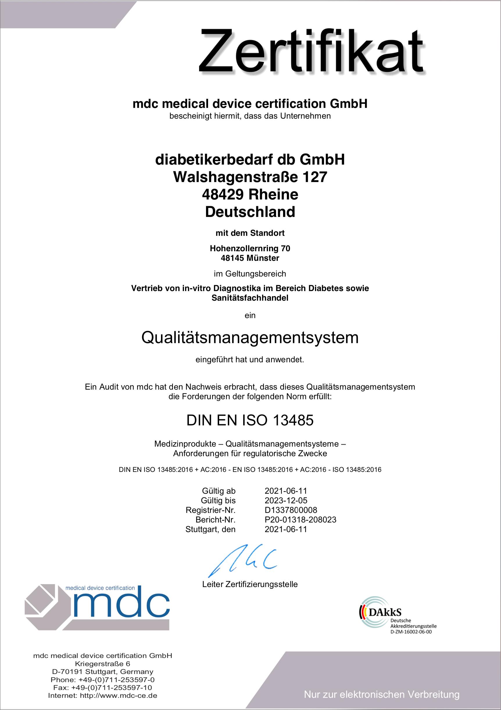 Zertifikat diabetikerbedarf