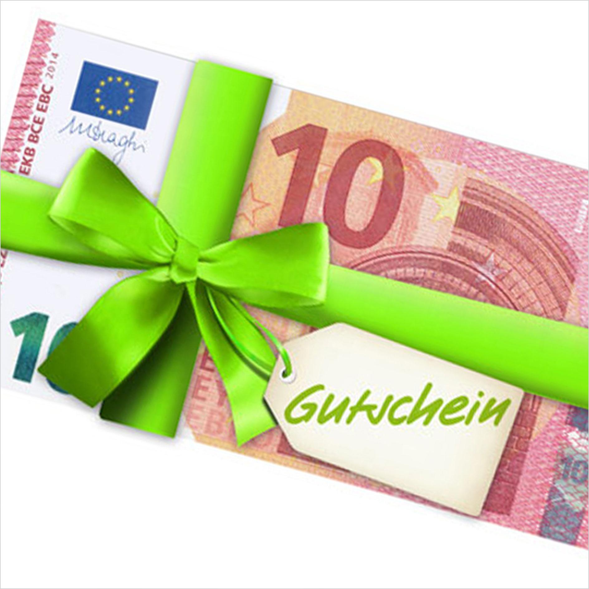 10 Euro Schein mit grünem Geschenkband umwickelt