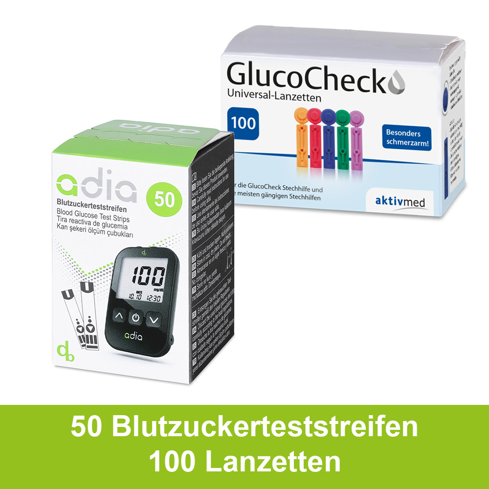 50 adia Blutzuckerteststreifen + 100 Lanzetten