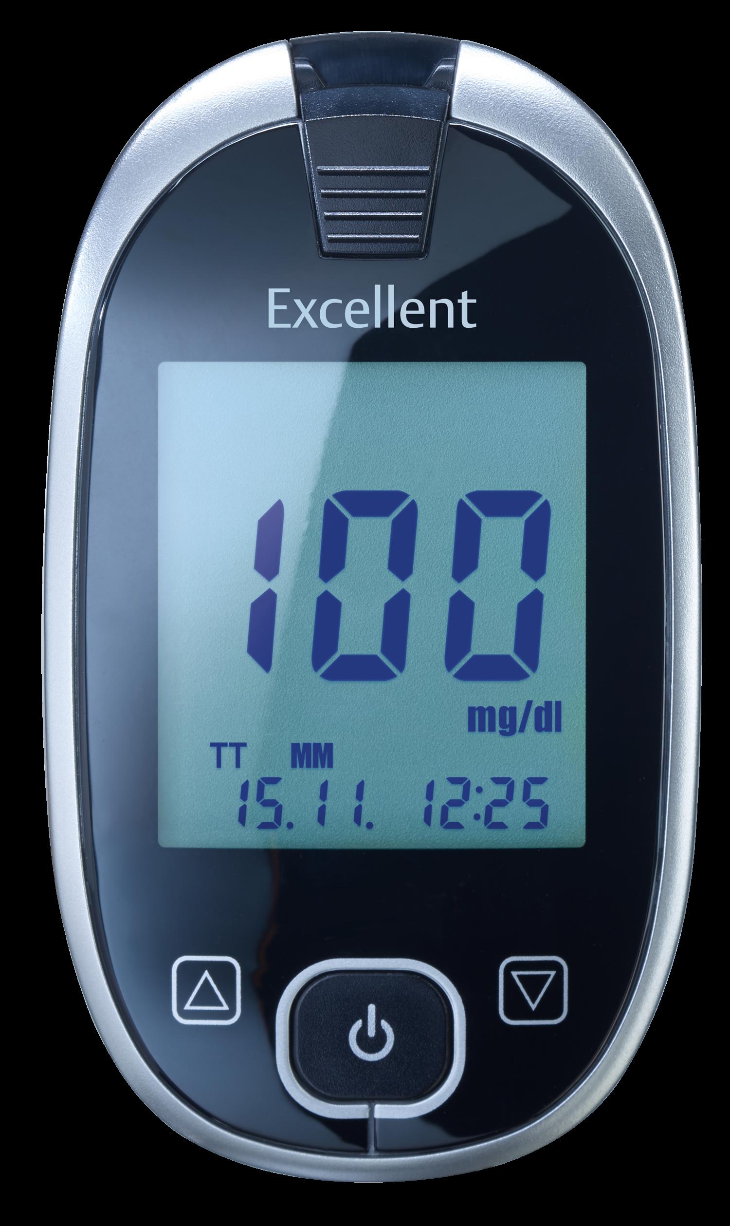 GlucoCheck Excellent Starter-Set mit 110 Blutzuckerteststreifen mg/dl