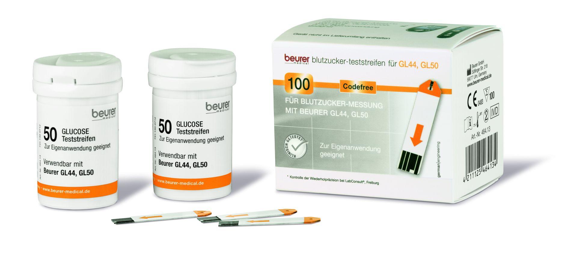 beurer GL44 / 50 / 50evo Blutzuckerteststreifen, 100 Stück