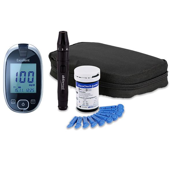GlucoCheck Excellent Starter-Set mmol/l mit 60 Teststreifen
