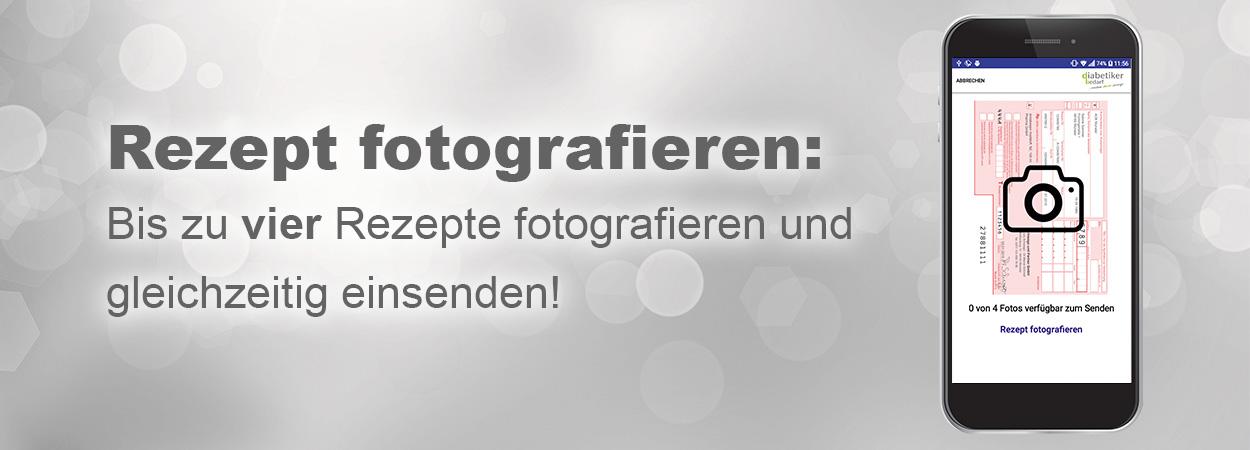 Banner mit Text Rezept fotografieren für Rezept App
