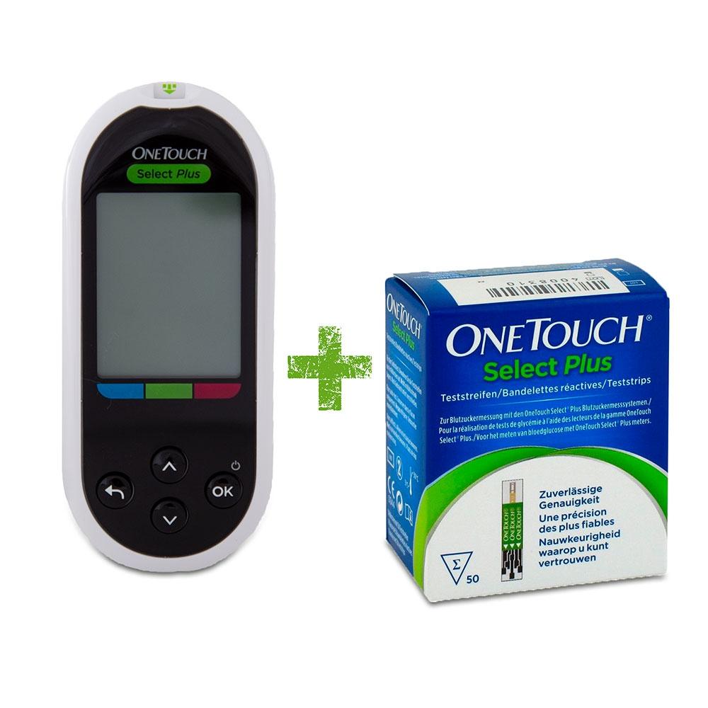 OneTouch Select Plus Starter-Set – Blutzuckermessgerät [mg/dl] inkl. 60 Blutzuckerteststreifen