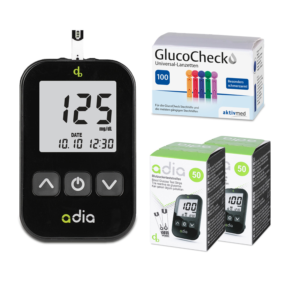 adia Blutzuckermessgerät Set Starterkit + 110 Blutzuckerteststreifen + 110 Lanzetten