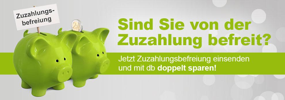 Banner mit Text Zuzahlungsbefreiung