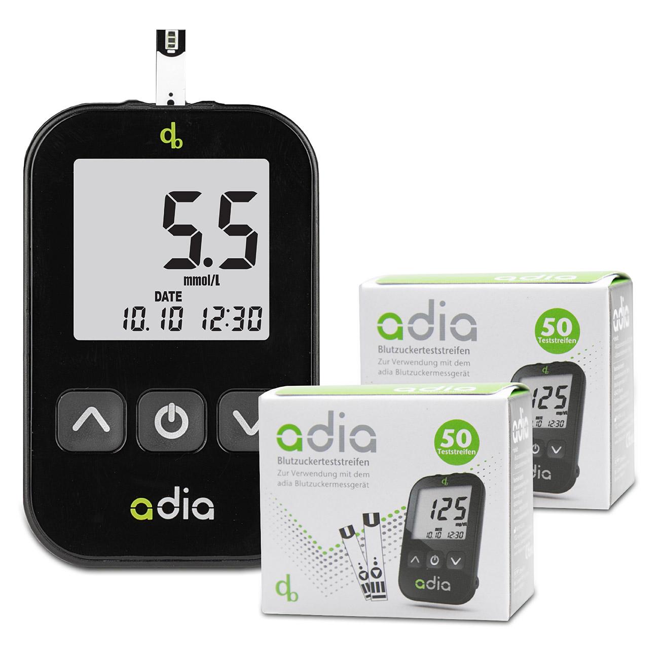 adia Starter-Set mit 110 Blutzuckerteststreifen  mmol/l